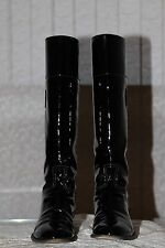 Chanel Patientr Leather Boots Black Tall Riding Style CC Logo Size 38,5 W/Box