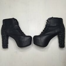 Jeffrey Campbell Lita Drip Slime Platform Heels Sz 11 M Black RARE SOLD OUT