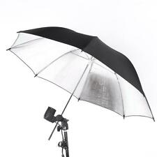 "83cm 33"" Studio Photography Strobe Flash Light Reflector Black Silver Umbrella"