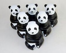 Lot of 6 Sitting Panda Shaped Stress Relief Squeezable Toys ~ #SB-834