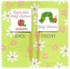 20 PERSONALISED BABY SHOWER THE HUNGRY CATERPILLAR CUP CAKE FLAG Party Topper