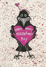 ACEO ORIGINAL PAINTING RAVEN CROW HAPPY VALENTINES DAY FOLK ART GIFT LOVE FUNNY