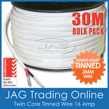 30M x 3mm MARINE GRADE TINNED 2-CORE TWIN SHEATH WIRE / BOAT ELECTRICAL CABLE
