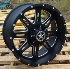 "20"" Matte Black Lonestar Outlaw Wheels Chevy 1500 Truck 20x9 inch 6 lug Rims +13"