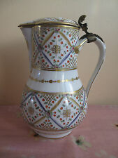 Rare Antique 18c Paris Rue Thiroux Porcelain Baluster Jug&Cover Gilt Metal 1778