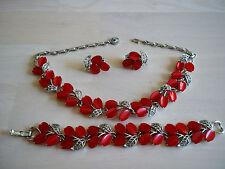 Vintage Lisner Set Red Cherries Necklace Bracelet Earrings Rhodium Mint