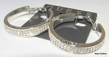 GUESS Jeans Ring Earring  Earrings Hoop Tone Rhinestones Charms Silver Charm NWT