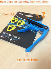 2 Pcs HAZE High Grade Zinc Alloy Acoustic/Electric Guitar Capo,pin puller,Blue