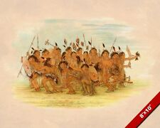 SOUIX NATIVE AMERICAN INDIAN SCALP DANCE PAINTING CATLIN ART REAL CANVAS PRINT