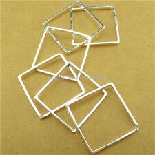 13767 15PCS Copper Silver Square Geometric Pendant Connector Jewelry Making