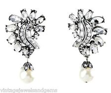 ART DECO WHITE PEARL DIAMANTE CRYSTAL RHINESTONE Silver Floral Clip On Earrings