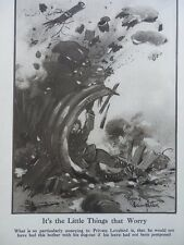 1917 BRUCE BAIRNSFATHER CARTOON - IT'S THE LITTLE THINGS THAT WORRY WWI WW1