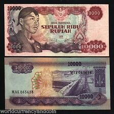 Indonesia 10000 Rupiah P112 1968 Sudirman Tin Mining Bangla Currency Money Bill