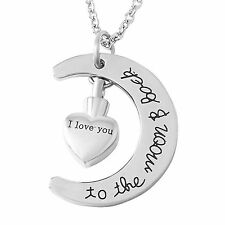 Stainless Steel Half MooN w/ Heart Cremation Pendant Urn Jewelry Pet Ashes Human