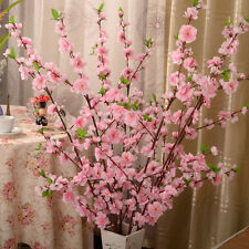 1 Pink Artificial Cherry Spring Plum Peach Blossom Branch Silk Flower Tree Decor