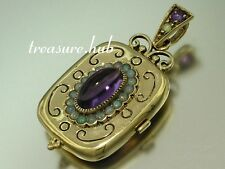 CP109- EXQUISITE Genuine 9ct SOLID Gold NATURAL AMETHYST & OPAL LOCKET Pendant