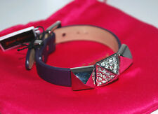 NWT Juicy Couture Silver Pave Pyramid Watch Leather Strap Bracelet PURPLE