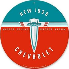 New 1938 Chevrolet round metal sign     (pst 14rnd)