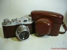 Serviced CLA 1950s Halina 35X 35mm Film Camera with Brown Leather + Case