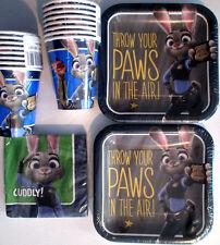 ZOOTOPIA Disney  Birthday Party Supply Kit w/ Plates,Cups & Beverage Napkins