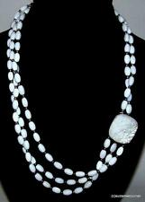Jay King DTR Necklace Mother of Pearl Beads with Carved MOP & Sterling Silver