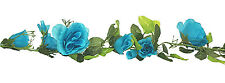 TURQUOISE BLUE TEAL AQUA Rose Garland Silk Wedding Flowers Arch Gazebo Reception