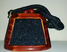 Fre-Mor Bakelite and Blue Beaded Handbag Purse - Tortoiseshell Art Deco