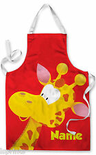 PERSONALISED CARTOON GIRAFFE CHILDRENS APRON BAKING PAINTING WATER ARTS & CRAFTS