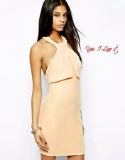 AQ AQ Leah Mini Dress with High Neck and Low Back in Nude UK10 EU38 US6 RRP£110