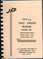 JAP 79.7 c.c. Two Stroke Model 80 Stationary Engine Spare Parts Manual
