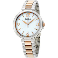 Bulova Sport White Dial Two Tone Stainless Steel Ladies Watch 98L195