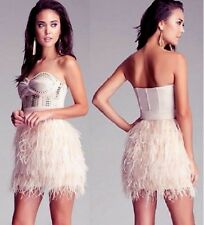 NWT bebe IsIs Dress light pink studded feather strapless top wedding S small 4