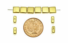 10 Flattened Gold Plated Cube Beads size 12mm ideal for Jewellery Making