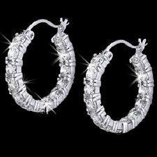 Inside Outside Signity CZ Cubic Zirconia Dangle Round Prong Set Hoop Earrings