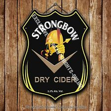 Strongbow Dry Cider Beer Advertising Bar Pub Metal Pump Badge Shield Steel Sign