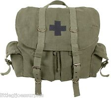 OD School Book Bag Vintage Canvas Medic Bag Rucksack Bookbag Backpack 9535 #2