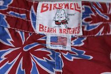 "BIRDWELL BEACH BRITCHES Red Blue Hibiscus Surf Swim Board Shorts 34.5"" Waist"