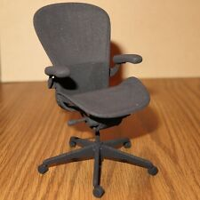 "Herman Miller Aeron Chair miniature 3D printed in black matte plastic 4.85"" tall"