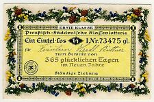 LOTTERIE LOS VERLOSUNG LOTTERY LOT / NEUJAHR NEW YEAR * AK um 1930