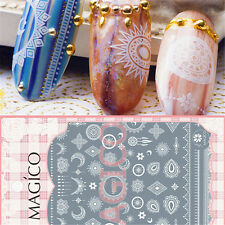 1 Pc 3D Nail Sticker White Retro Totem Star Moon Pattern Manicure Decal Tips DIY