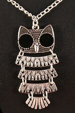 Rustic Alloy Flexible Owl Pendant Necklace w/Free Jewelry Box and Shipping
