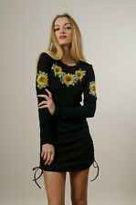 "Ukrainian WOMEN'S EMBROIDERED TUNIC ""SUNFLOWERS"". Black. Size XLarge"