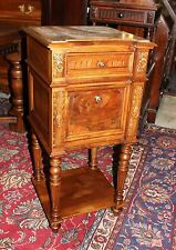 Antique French Walnut Louis XVI Marble Top Nightstand / Pedestal Side End Table