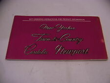 1977 CHRYSLER OPERATING INSTRUCTIONS NEW YORKER TOWN & COUNTRY CORDOBA NEWPORT