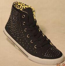 Sneakers Freizeitschuhe schwarz Größe 38 mit Nieten (Strass) (748)