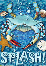 "Crab Splash! Summer Garden Flag Bushel Bay Water Blue Claw Crab Net 12"" x 18"""