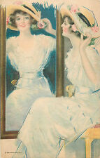 HAMILTON KING A/S BEAUTIFUL WOMAN POSING IN FRONT OF MIRROR #2 P/C