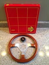 Vintage NOS 350mm Momo Veloce Wood Steering Wheel with Porsche Horn Button