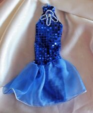 Barbie doll blue layered dress halter top sequin gown