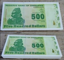 Zimbabwe 500 Dollars x 100pcs 2009 P 98 bundle consecutive UNC !